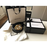 New men women double G gucci belt black and gold
