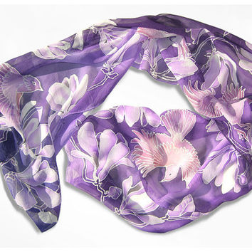 Silk Scarf long hand painted Silk Scarf handmade MAGNOLIA & BIRDS moters day gift violet lila purple