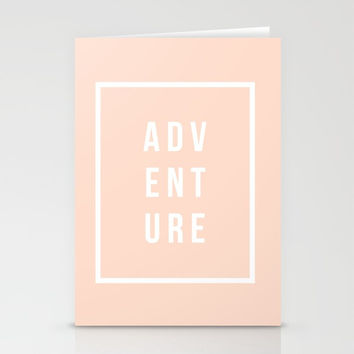 ADVENTURE in Peach Stationery Cards by Inspire Your Art