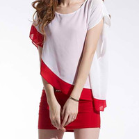 Red and White Color Block Two Piece Short Sleeve Dress