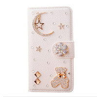 cute stars moon iphone 5s phone case iphone 5c flip case luxury iphone 4 wallet case cover samsung s4 galaxy s5 flip case note 3 wallet case