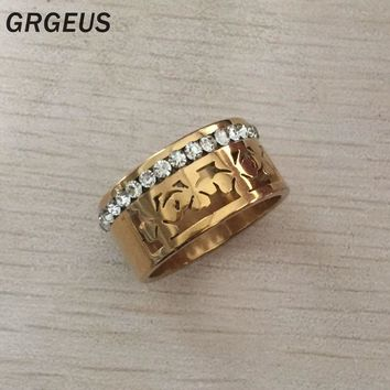 Never fading 18KGF gold filled hollow Leaves zircon wedding bands Rings for men Women Size 7,8,9,10,11,12,13 Fashion Jewelry