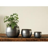 Round Metal Zinc Planter / Votive Holder