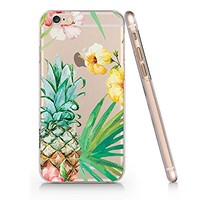 Tropical Flower Pineapple Transparent Plastic Phone Case for iphone 6 6s _ SUPERTRAMPshop (VAS681.6sl)