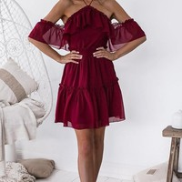 Burgundy Open-Shoulder Marjorie Dress