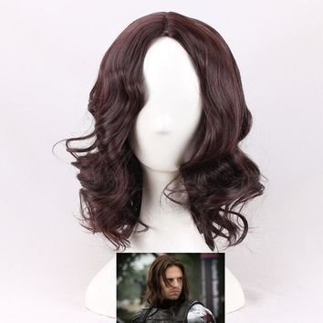 Cool Captain America Civil War Winter Soldier Bucky Barnes Cosplay Wigs Dark Brown Synthetic Wigs Party Costume Wigs + Wig CapAT_93_12
