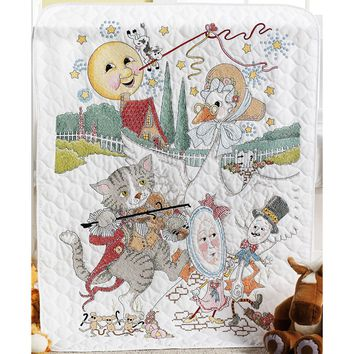"34""X43"" Classic Mother Goose Crib Cover Stamped Cross Stitch Kit"