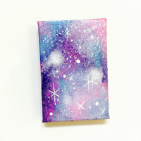 Galaxy Print Pastel Original Painting Miniature Canvas Magnet Space Pattern Stars