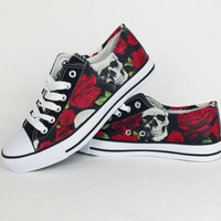 Skull shoes. skull and roses pumps, skull converse style plimsolls, women shoes, alternative fashion, punk, rockabilly, boho, pinup girl alt