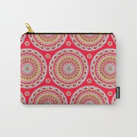Mandala Burst in Red Carry-All Pouch by Sarah Oelerich