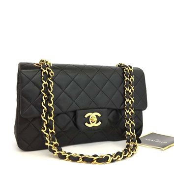 CHANEL Double Flap 23 Quilted CC Logo Lambskin w/Chain Shoulder Bag Black/q600