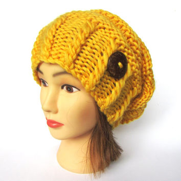 Slouchy beanie hat bright yellow wool slouch hats irish handknit beanies knitted hats for women gift for her with button accessory daffodil