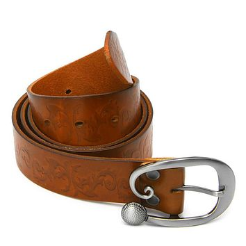 Preety Vintage Women Leather Wide Belt Casual Pin Buckle Embossed Waistband Waist Strap MAY11_35