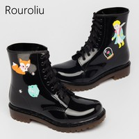 Vintage Cute Fashion Ankle Boots Graffiti Non-Slip Waterproof Water Shoes Wellies Female PVC Rain Boots RS215