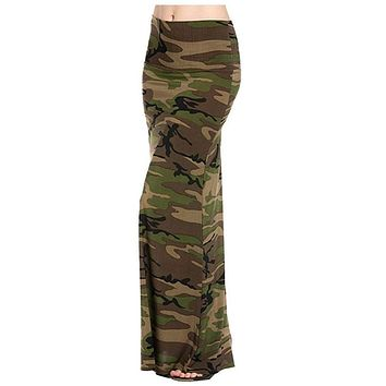 Army Printed Maxi Skirt