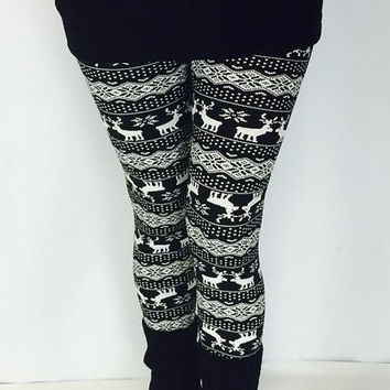 Custom Reindeer Leggings, Snowflake Leggings, Christmas Leggings, Cute Leggings