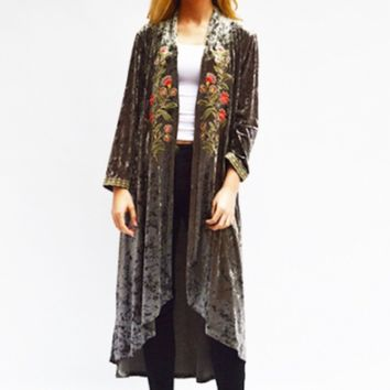 Velvet Embroidered Duster