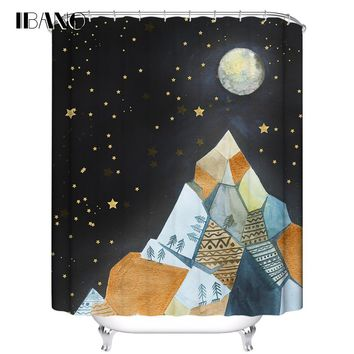 IBANO Shower Curtain Moon Star Customized Bath Curtain Waterproof Polyester Fabric Curtain For The Bathroom With 12pcs Hooks