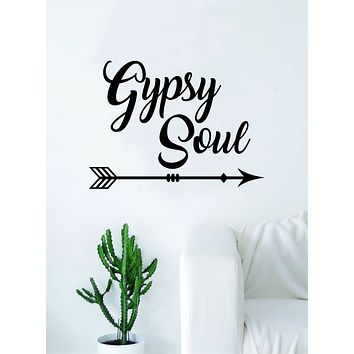 Gypsy Soul Quote Decal Sticker Wall Vinyl Decor Art Living Room Bedroom Inspirational Adventure Arrow
