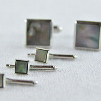 Square Abalone & Silver Cufflink Set Vintage 40's Shields Fifth Avenue