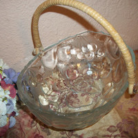 Glass Fruit Bowl Vintage Mikasa Serving Dish Formal Entertaining Decorative Tableware Wicker Handle