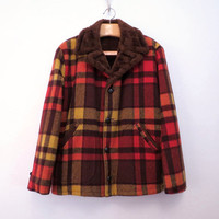 Plaid Wool Coat with Faux Fur lining size Men L
