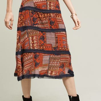 Maroue Patchwork Skirt, Red