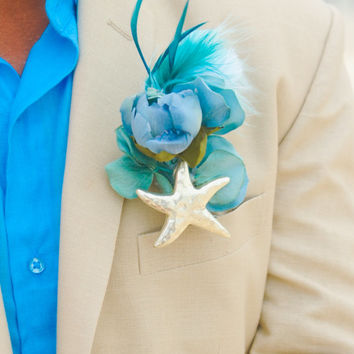 Starfish Seashell Boutonniere Feather Wedding Bouquet- Custom Order