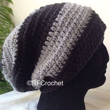 Men's Black and Gray Beanie | Adult Beanie | Large Beanie | Black and Heather Gray | Men's Crochet Hat | Men's Slouchy Beanie