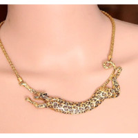 Gold Long Leopard Collares Pendant Necklaces For Women