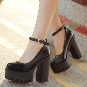 Autumn casual high-heeled shoes