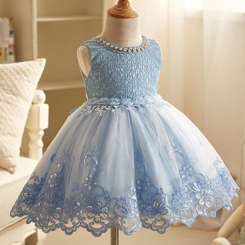 Girls dresses for party and wedding hollow lace Costume Frocks pearls sequins beading prom tutu Dresses For 2 4 6 8 10 Years