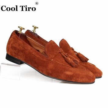 Cool Tiro Brown Suede Loafers Tassels Men's Moccasins Slippers