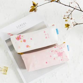 Novelty Cute Beautiful Sakura Canvas Pencil Case Fabric Zipper Pencil Bag Stationery Storage Bag School Supply Students Gift