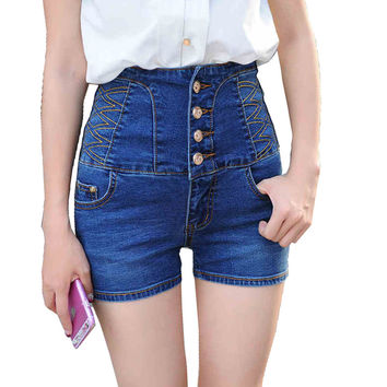 Women's summer casual high waist buttons stretch denim shorts Lady's plus large size slim skinny jeans