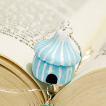 Circus Tent Necklace, Pastel Pink, Pastel Blue, Cute Miniature Handmade Tend, Polymer Clay