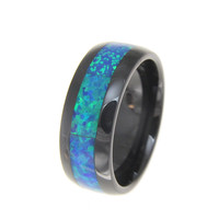 Black Ceramic 8mm Wedding Band Ring Blue Opal Inlay Comfort Fit Size 5-14