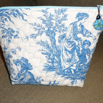 QUILTED FRENCH TOILE Cosmetic Bag / Large Cosmetic Bag / Quilted Vinyl Interior / French Toile Toiletry Bag / Vinyl Interior Bath Bag