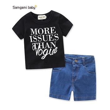 Summer Baby Girl's clothing sets girl's denim clothes Fashion baby 2 Pieces suit Black letter printing t-shirts+denim shorts