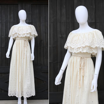 Vintage 1970s Boho Hippie Eyelet Lace Ivory Festival Wedding Maxi Dress