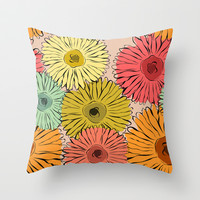 Gerbera Throw Pillow by Silvianna