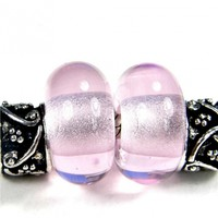 Transparent Rose Quartz Pink Handmade Lampwork Glass Beads 067 Shiny (Choices of Etched, .999 Fine Silver, Shapes, Sizes, Large Hole Beads Extra)