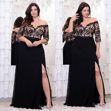Plus Size Lace Applique Floor Length Dress