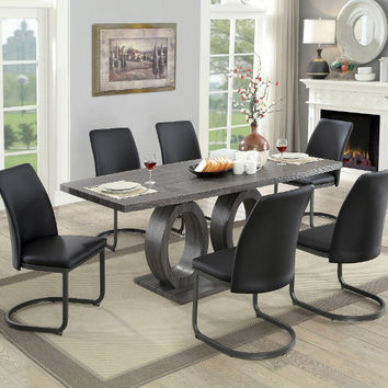 Furniture of america CM3918T-7PC 7 pc Saskia gray finish wood dining table set