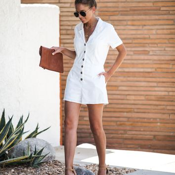 Utility Pocketed Button Down Romper - FINAL SALE