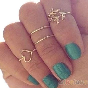 4PCS/Set Rings Urban, Gold Plated, Crystal Plain Above, Knuckle Ring, Band