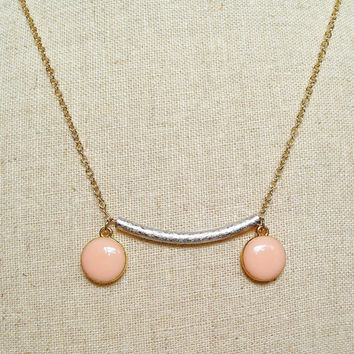 Tube & Pale Pink Resin Disc Necklace, Pink Resin Disc Necklace, Silver Tube Necklace, Cream Pink Necklace, Resin Jewelry For Her