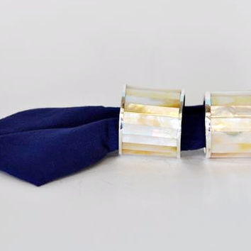 Mother of Pearl and Silver Napkin Rings (pair)