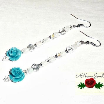 "Earrings: Pink Jade, Turquoise,And Swarovski Crystal ""Beautiful"""