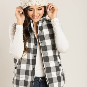 Shayla Black and White Plaid Puffy Vest